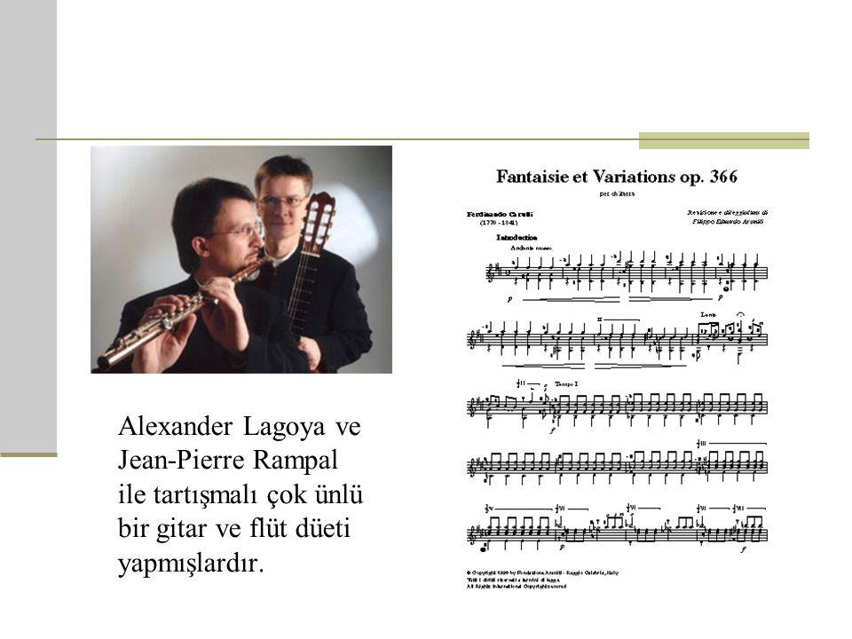 Alexander Lagoya ve Jean-Pierre Rampal ile tartışmalı çok ünlü bir gitar ve flüt düeti yapmışlardır.