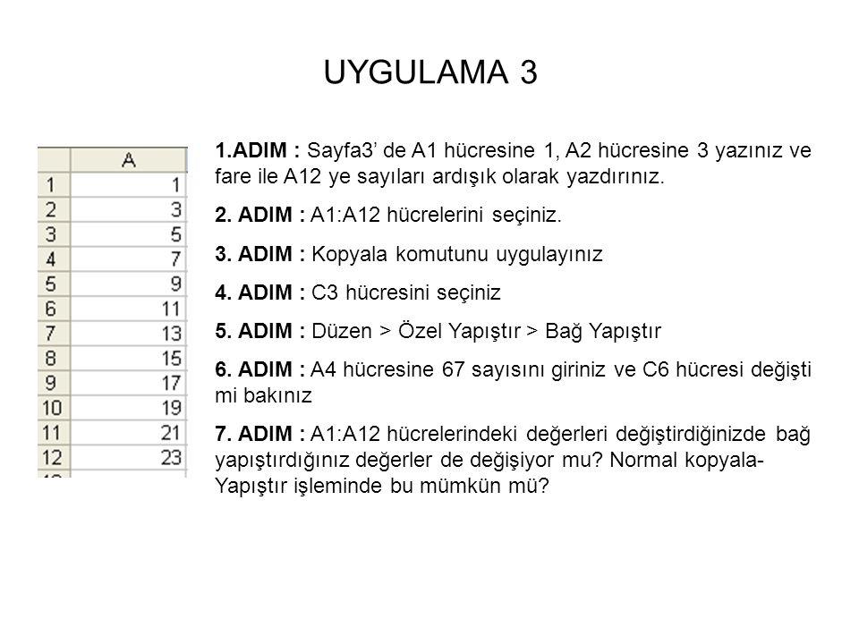 UYGULAMA 3 1.ADIM : Sayfa3' de A1 hücresine 1, A2 hücresine 3 yazınız ve fare ile A12 ye sayıları ardışık olarak yazdırınız.