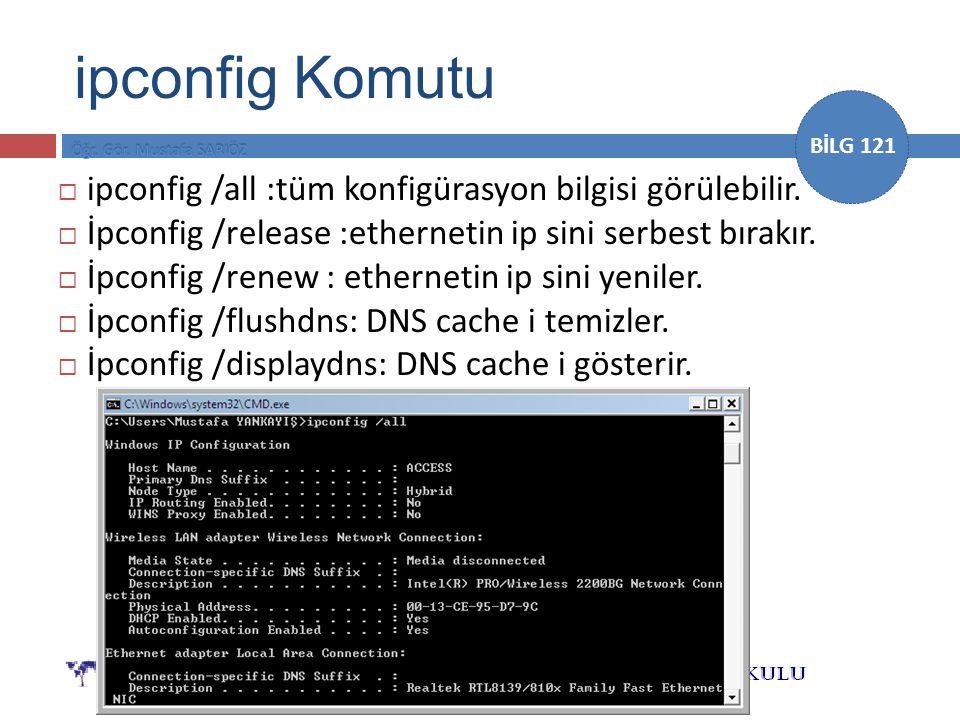ipconfig Komutu ipconfig /all :tüm konfigürasyon bilgisi görülebilir.