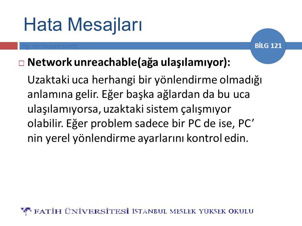 Hata Mesajları Network unreachable(ağa ulaşılamıyor):