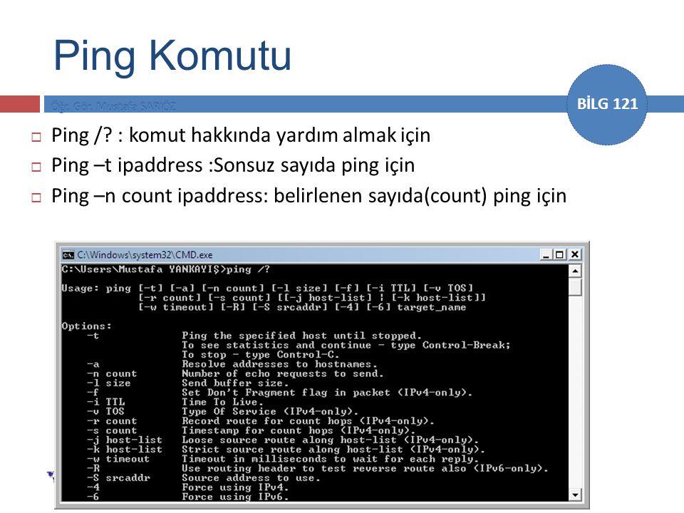 Ping Komutu Ping / : komut hakkında yardım almak için