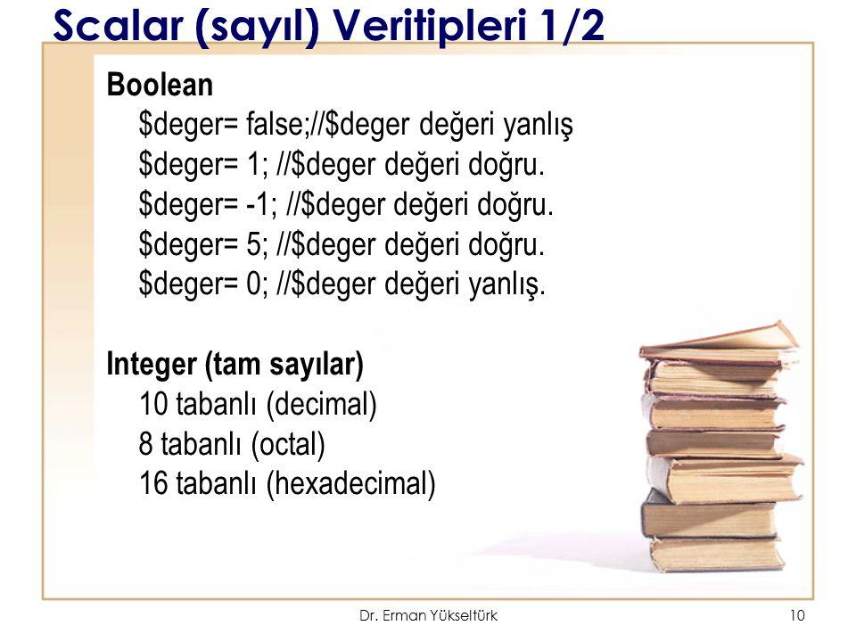 Scalar (sayıl) Veritipleri 1/2