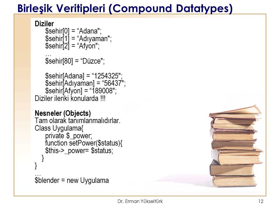 Birleşik Veritipleri (Compound Datatypes)
