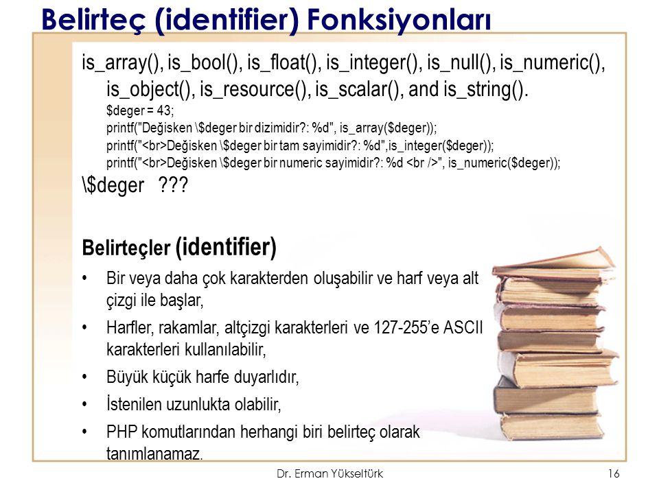Belirteç (identifier) Fonksiyonları