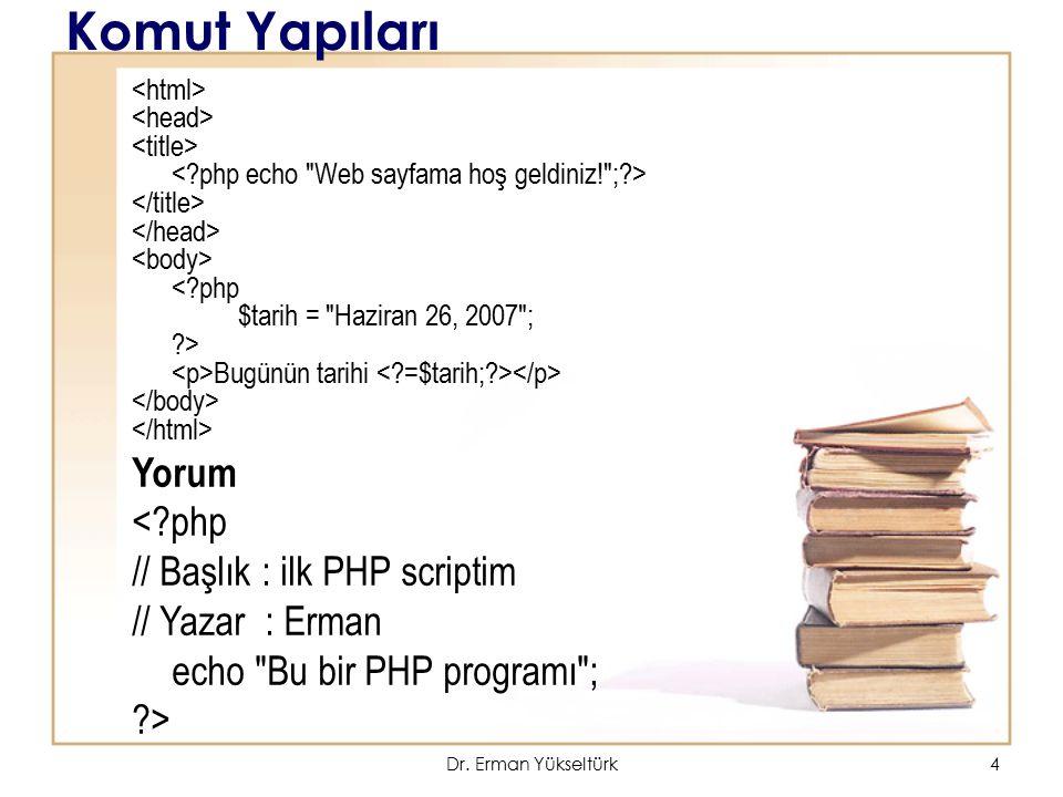 Komut Yapıları Yorum < php // Başlık : ilk PHP scriptim