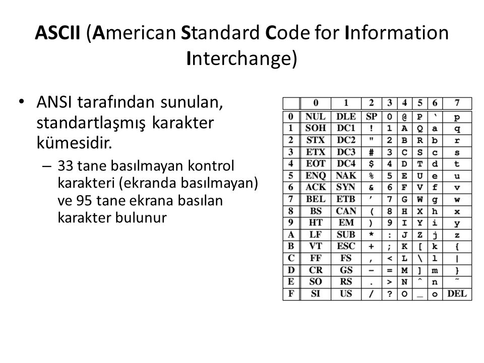 ASCII (American Standard Code for Information Interchange)