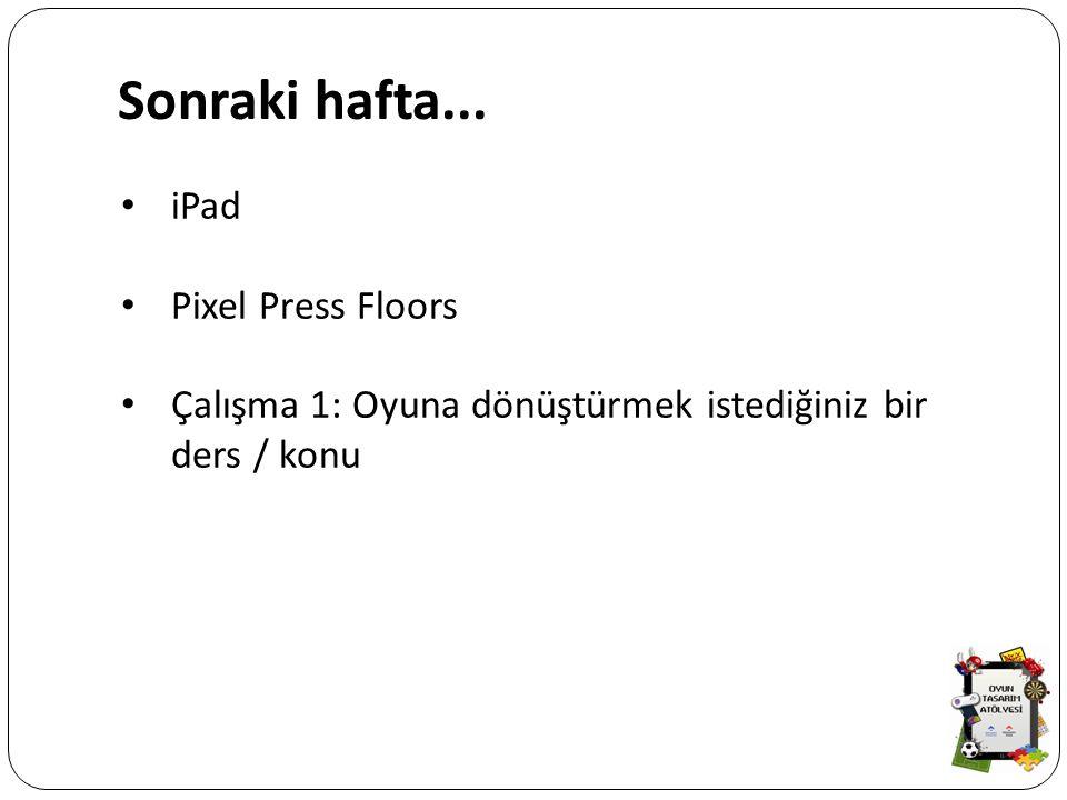 Sonraki hafta... iPad Pixel Press Floors