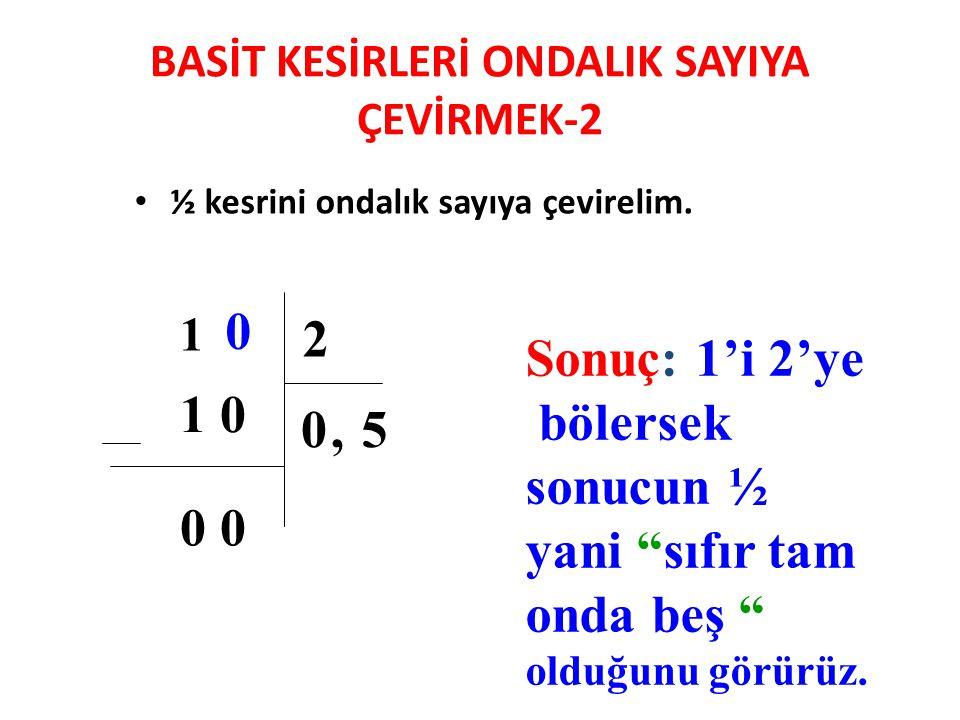 BASİT KESİRLERİ ONDALIK SAYIYA ÇEVİRMEK-2