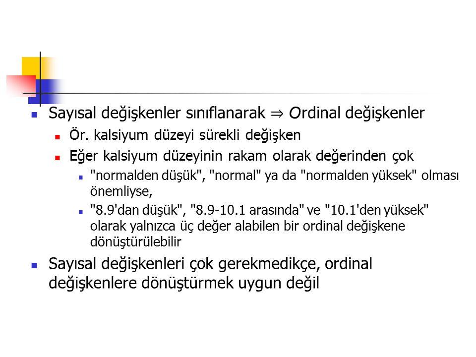 Sayısal değişkenler sınıflanarak ⇒ Ordinal değişkenler