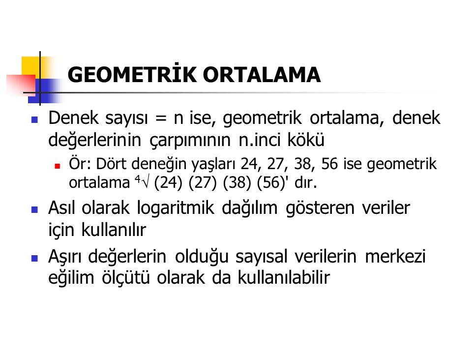 GEOMETRİK ORTALAMA Denek sayısı = n ise, geometrik ortalama, denek değerlerinin çarpımının n.inci kökü.