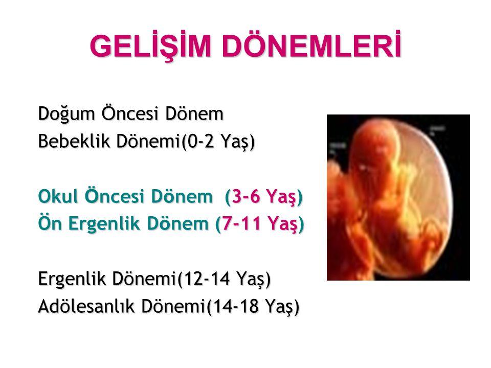 GELİŞİM DÖNEMLERİ Doğum Öncesi Dönem Bebeklik Dönemi(0-2 Yaş)