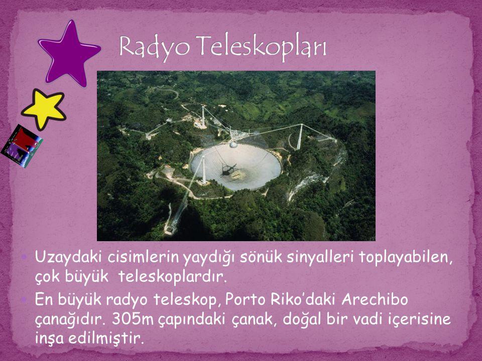 Radyo Teleskopları Uzaydaki cisimlerin yaydığı sönük sinyalleri toplayabilen, çok büyük teleskoplardır.