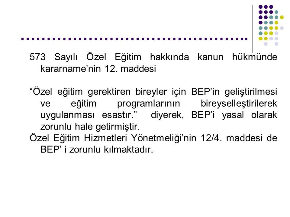 …………………………………….. 573 Sayılı Özel Eğitim hakkında kanun hükmünde kararname'nin 12. maddesi.