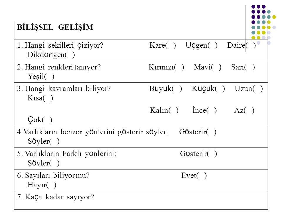 BİLİŞSEL GELİŞİM 1. Hangi şekilleri çiziyor Kare( ) Üçgen( ) Daire( ) Dikdörtgen( )
