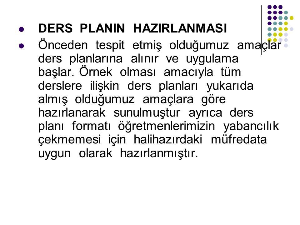 DERS PLANIN HAZIRLANMASI