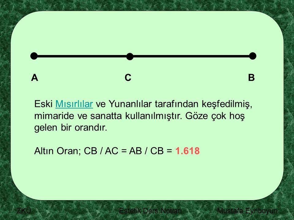 Altın Oran; CB / AC = AB / CB = 1.618