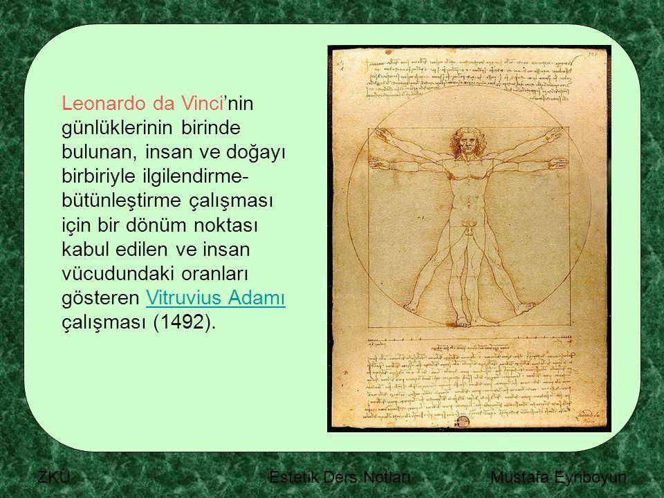 Leonardo da Vinci'nin günlüklerinin birinde bulunan, insan ve doğayı birbiriyle ilgilendirme-bütünleştirme çalışması için bir dönüm noktası kabul edilen ve insan vücudundaki oranları gösteren Vitruvius Adamı çalışması (1492).