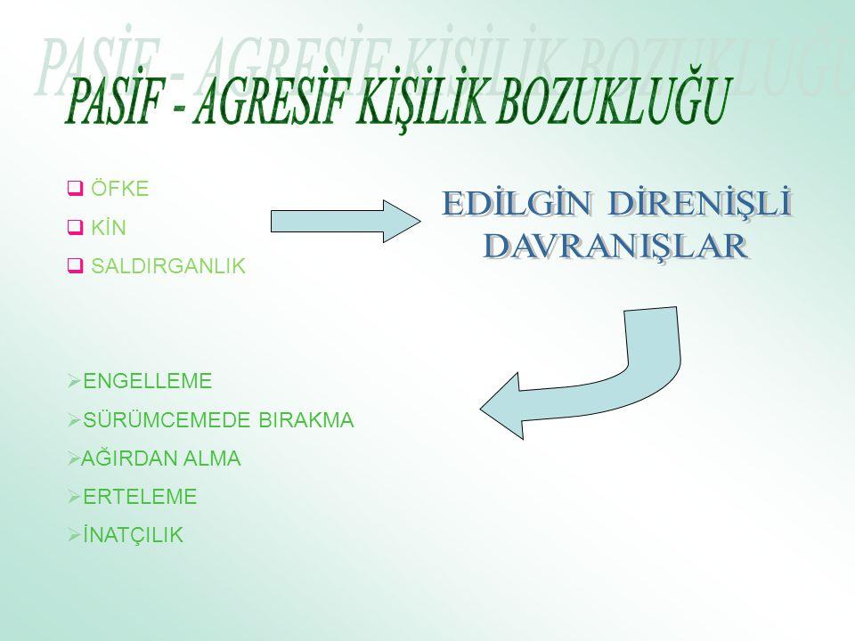PASİF - AGRESİF KİŞİLİK BOZUKLUĞU