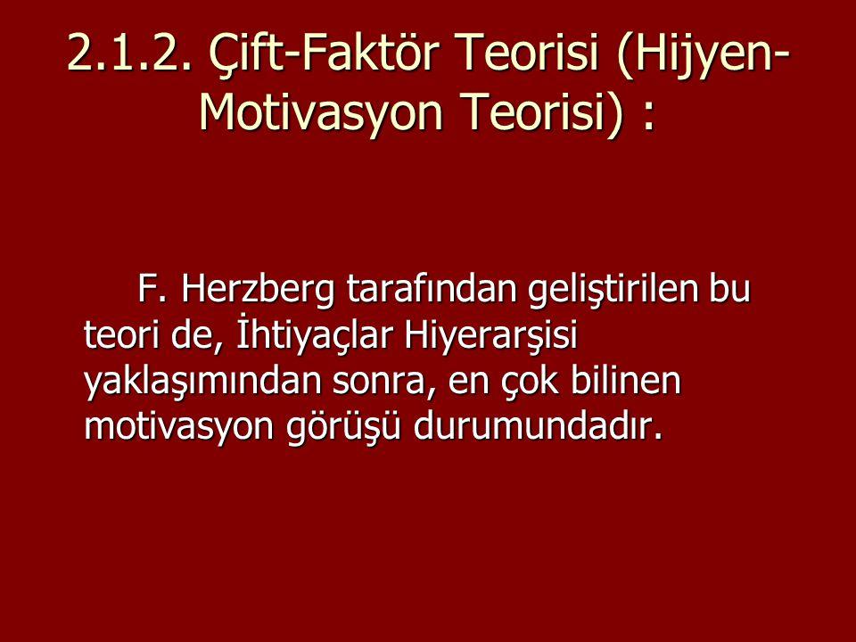 2.1.2. Çift-Faktör Teorisi (Hijyen-Motivasyon Teorisi) :