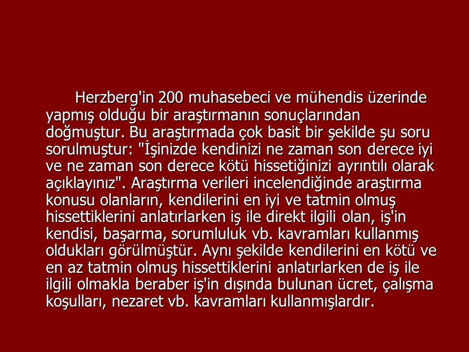 Herzberg in 200 muhasebeci ve mühendis üzerinde yapmış olduğu bir araştırmanın sonuçlarından doğmuştur.