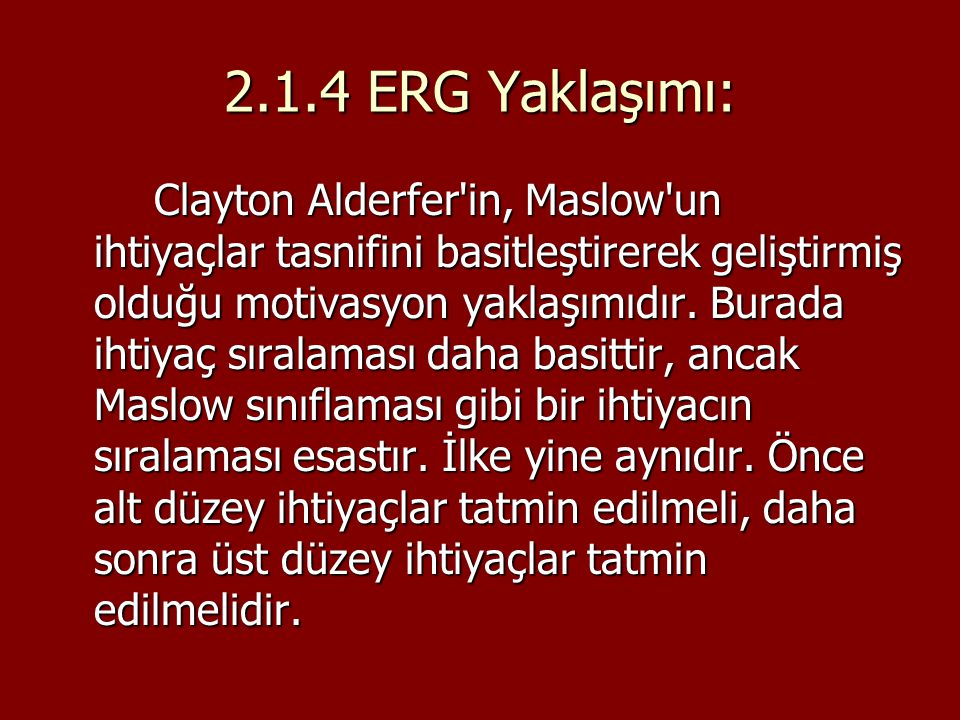 2.1.4 ERG Yaklaşımı: