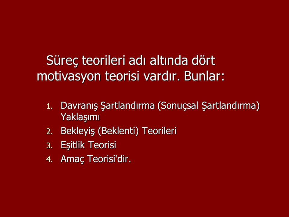 Süreç teorileri adı altında dört motivasyon teorisi vardır. Bunlar: