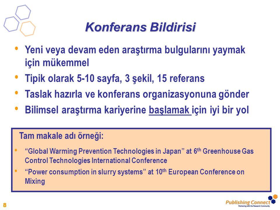 Konferans Bildirisi Yeni veya devam eden araştırma bulgularını yaymak için mükemmel. Tipik olarak 5-10 sayfa, 3 şekil, 15 referans.