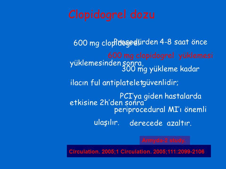Clopidogrel dozu 600 mg clopidogrel yüklemesinden sonra, ilacın ful antiplatelet etkisine 2h'den sonra ulaşılır.