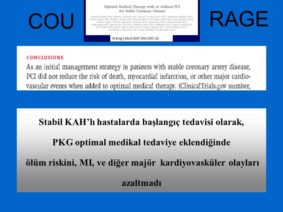 RAGE COU Stabil KAH'lı hastalarda başlangıç tedavisi olarak,
