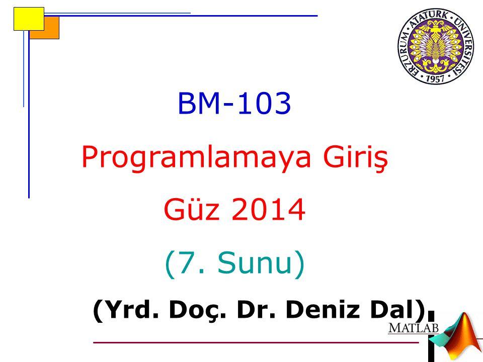 BM-103 Programlamaya Giriş Güz 2014 (7. Sunu)