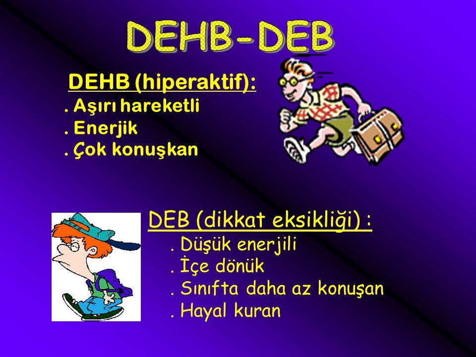 DEHB-DEB DEB (dikkat eksikliği) : DEHB (hiperaktif): . Aşırı hareketli