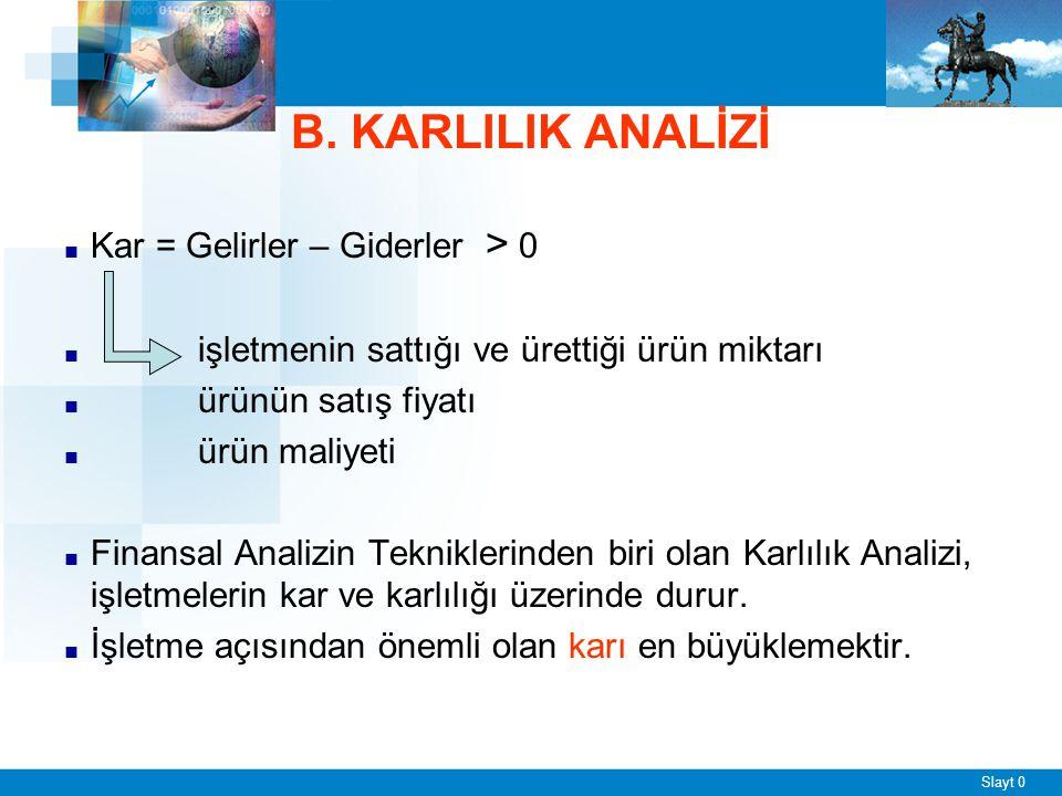 B. KARLILIK ANALİZİ