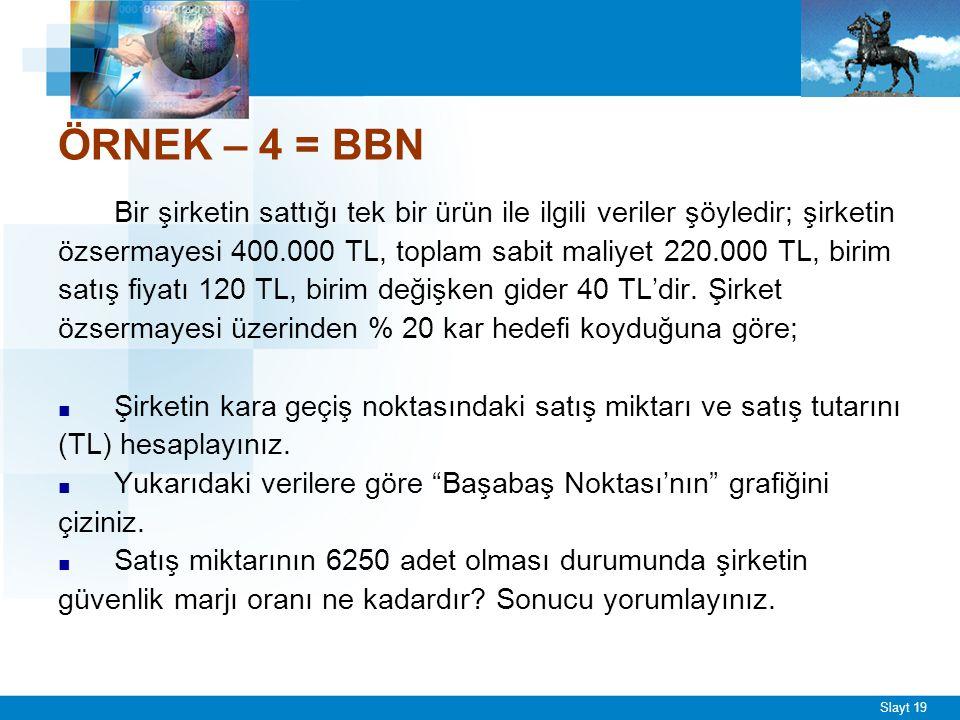 BBN(birim)= 220.000/ (120-40) = 2.750 adet
