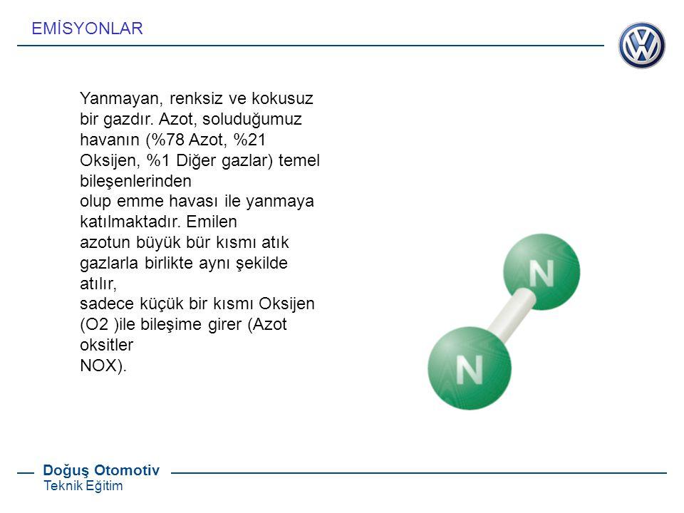 EMİSYONLAR Yanmayan, renksiz ve kokusuz bir gazdır. Azot, soluduğumuz. havanın (%78 Azot, %21 Oksijen, %1 Diğer gazlar) temel bileşenlerinden.
