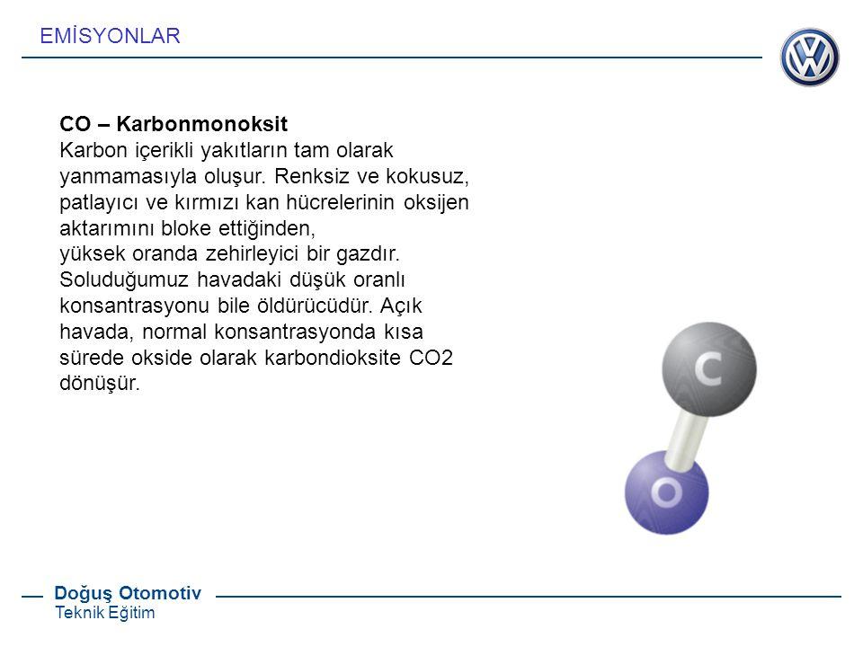 EMİSYONLAR CO – Karbonmonoksit. Karbon içerikli yakıtların tam olarak yanmamasıyla oluşur. Renksiz ve kokusuz,