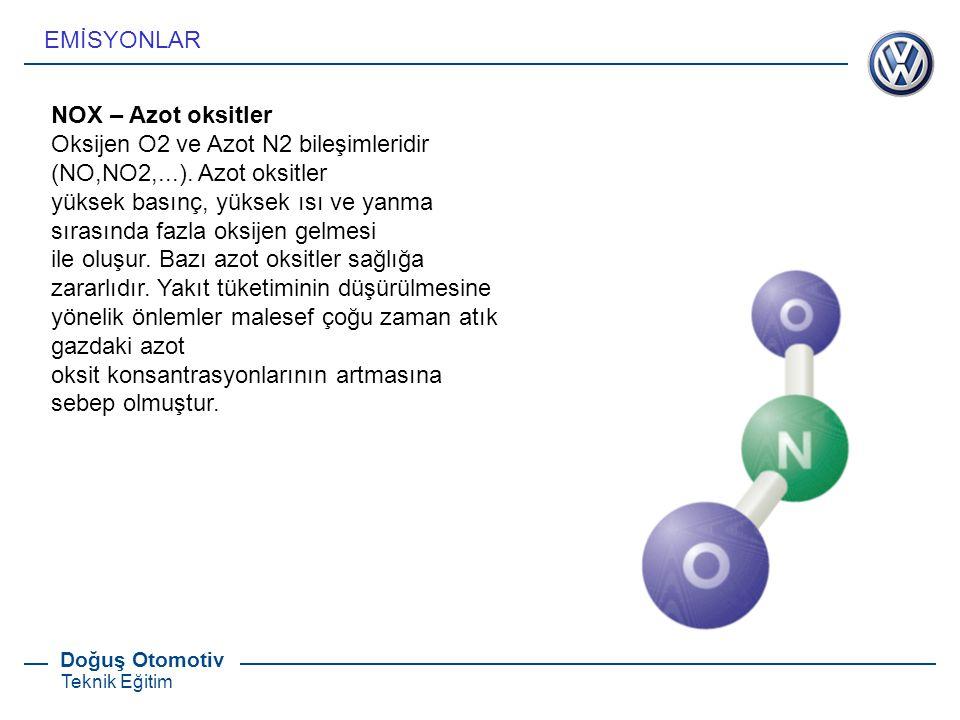 EMİSYONLAR NOX – Azot oksitler. Oksijen O2 ve Azot N2 bileşimleridir (NO,NO2,...). Azot oksitler.