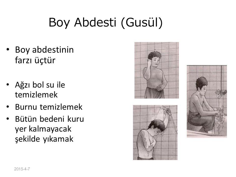 Boy Abdesti (Gusül) Boy abdestinin farzı üçtür