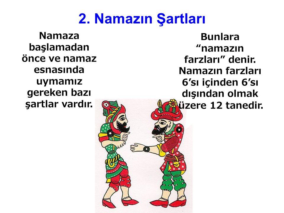 2. Namazın Şartları Bunlara namazın farzları denir. Namazın farzları 6'sı içinden 6'sı dışından olmak üzere 12 tanedir.
