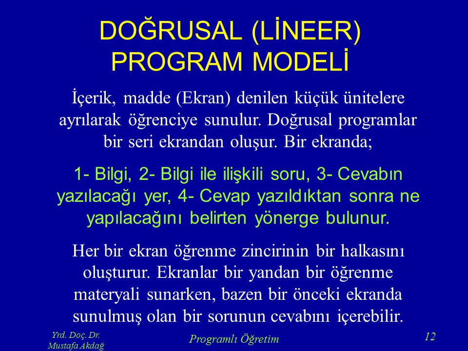 DOĞRUSAL (LİNEER) PROGRAM MODELİ