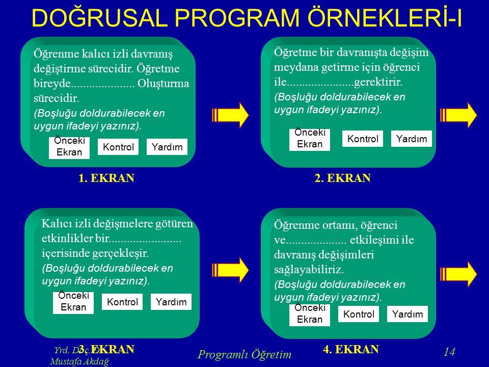 DOĞRUSAL PROGRAM ÖRNEKLERİ-I