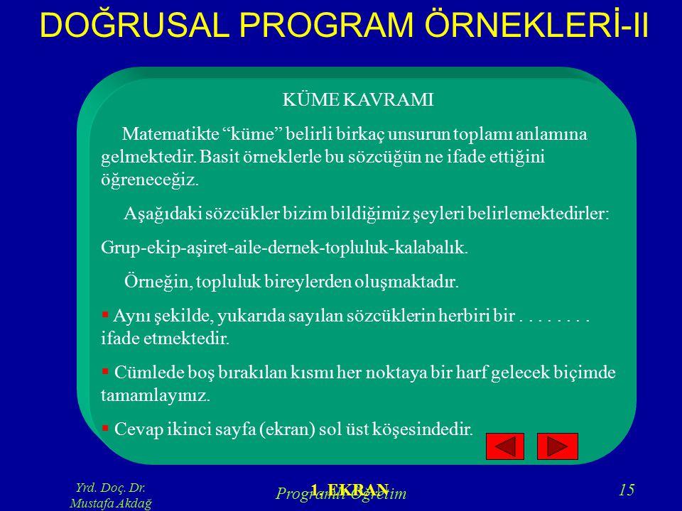 DOĞRUSAL PROGRAM ÖRNEKLERİ-II