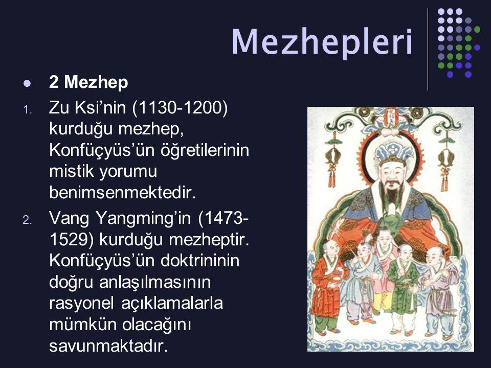 Mezhepleri 2 Mezhep. Zu Ksi'nin (1130-1200) kurduğu mezhep, Konfüçyüs'ün öğretilerinin mistik yorumu benimsenmektedir.