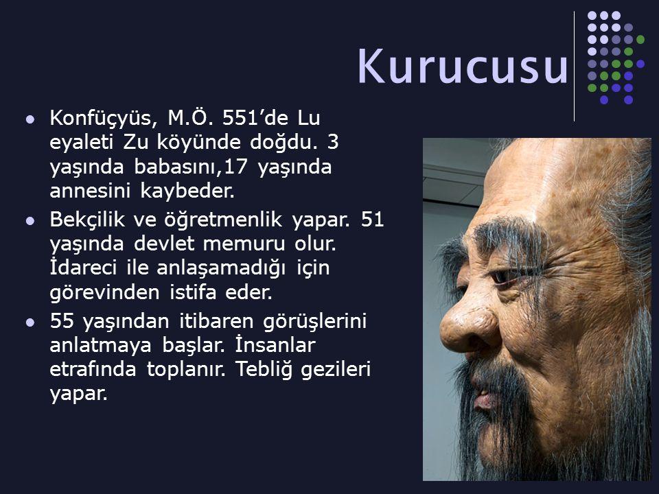 Kurucusu Konfüçyüs, M.Ö. 551'de Lu eyaleti Zu köyünde doğdu. 3 yaşında babasını,17 yaşında annesini kaybeder.