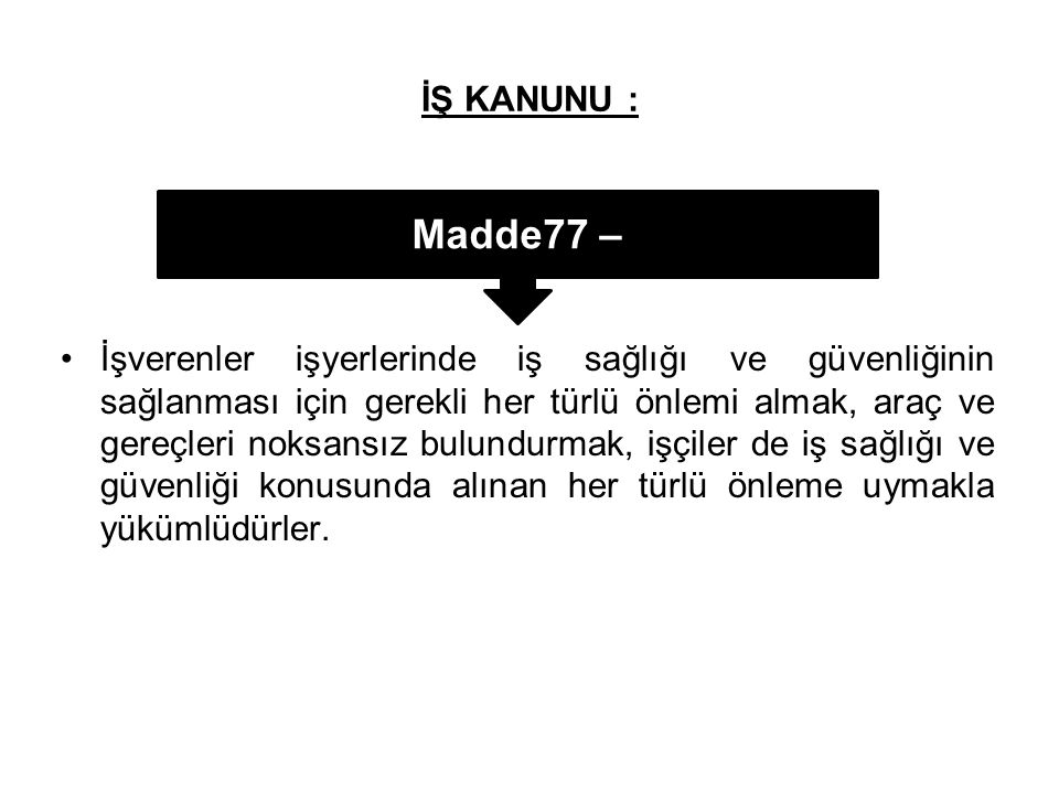 İŞ KANUNU : Madde77 –