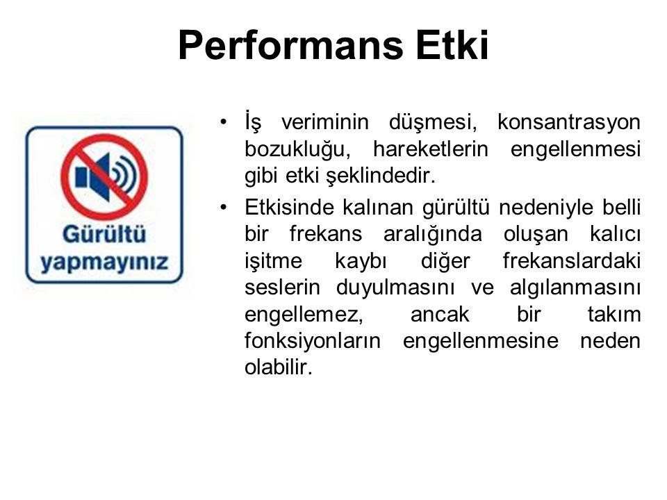 Performans Etki İş veriminin düşmesi, konsantrasyon bozukluğu, hareketlerin engellenmesi gibi etki şeklindedir.