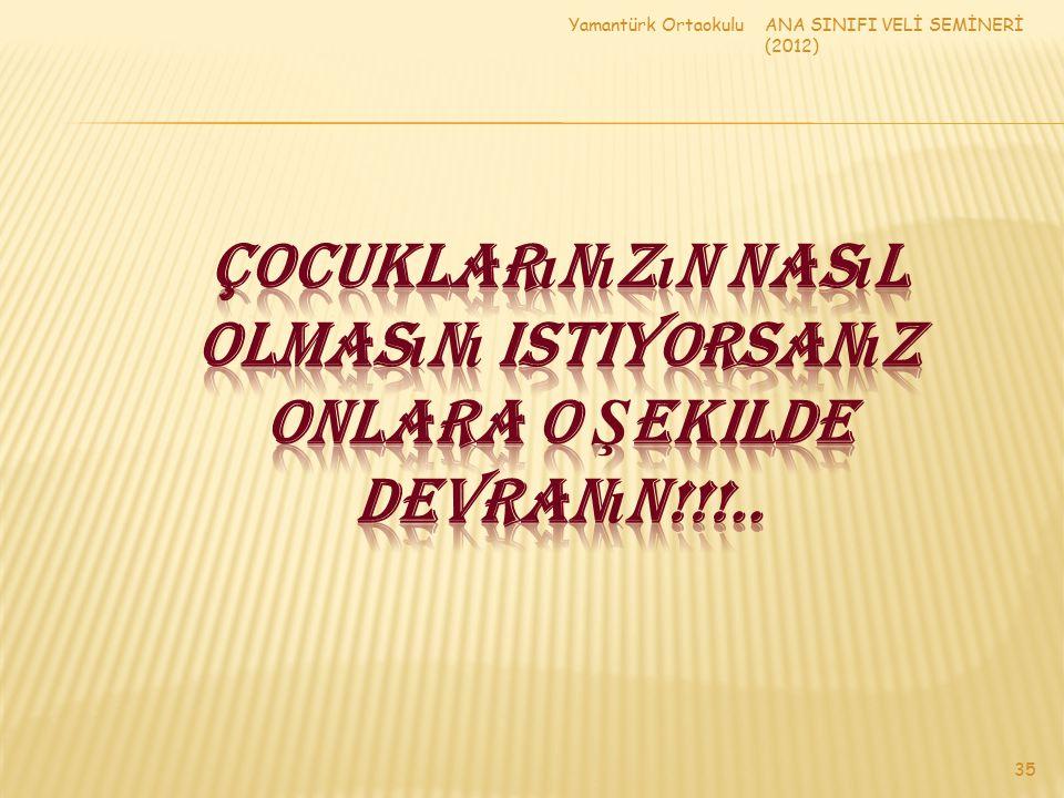 Yamantürk Ortaokulu ANA SINIFI VELİ SEMİNERİ (2012) Çocuklarınızın nasıl olmasını istiyorsanız onlara o şekilde devranın!!!..