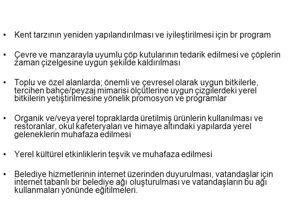 Kent tarzının yeniden yapılandırılması ve iyileştirilmesi için br program