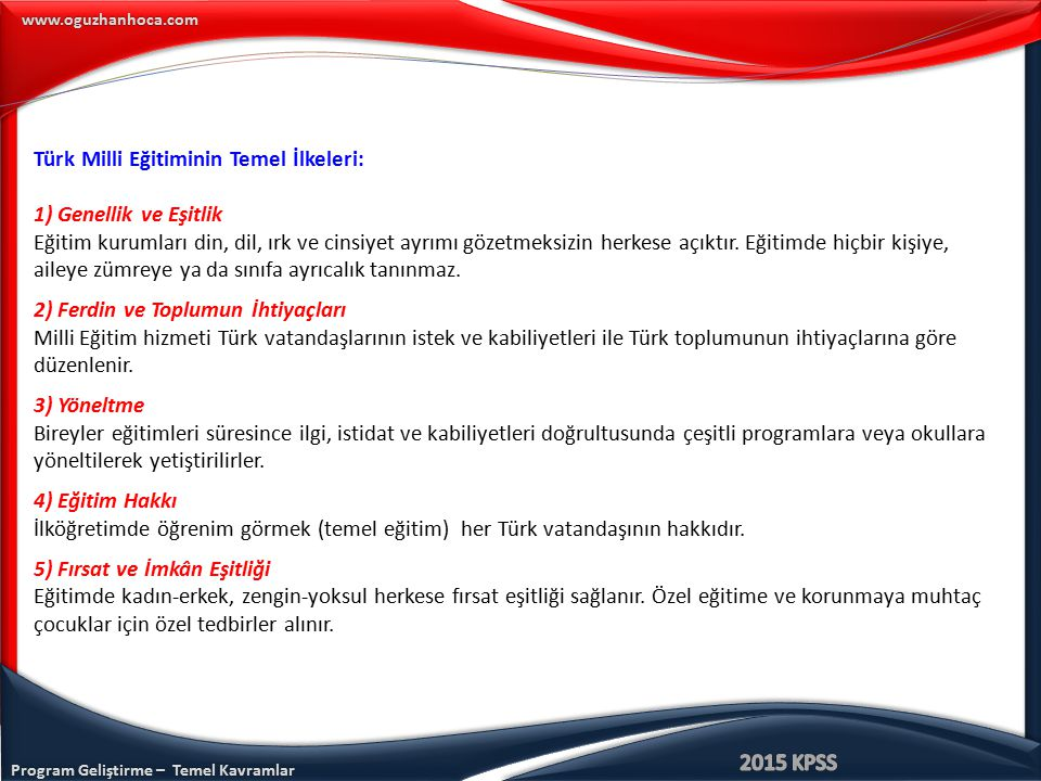 Türk Milli Eğitiminin Temel İlkeleri: