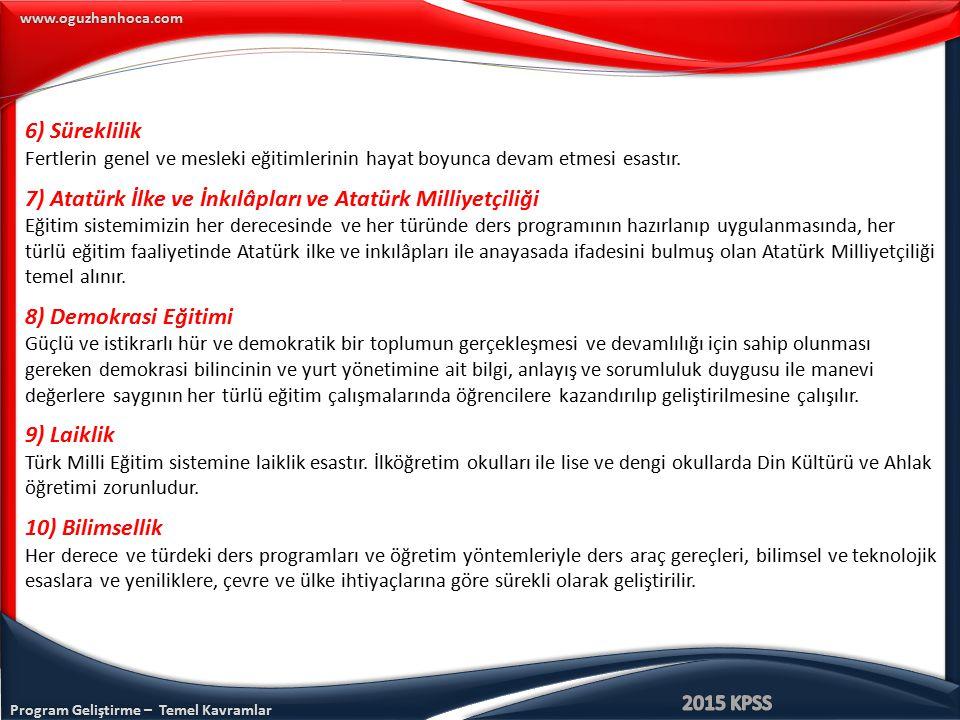 7) Atatürk İlke ve İnkılâpları ve Atatürk Milliyetçiliği