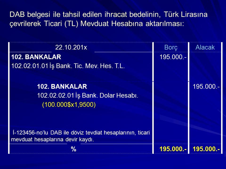 DAB belgesi ile tahsil edilen ihracat bedelinin, Türk Lirasına çevrilerek Ticari (TL) Mevduat Hesabına aktarılması: